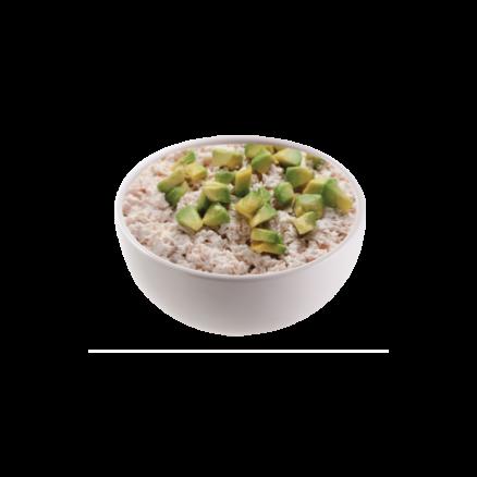 T2 Tartares thon cuit avocat sur un bol de riz