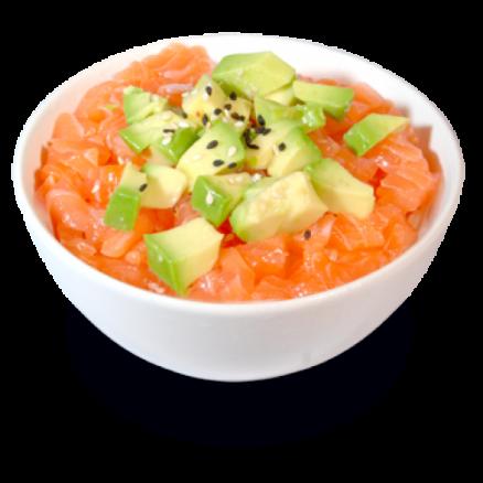 T3 Tartares saumon avocat sur un bol de riz